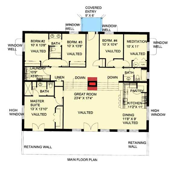 Berm Home: Attractive Berm House Plan - 35458GH