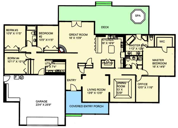 Sprawling ranch home 35467gh 1st floor master suite for Sprawling ranch floor plans