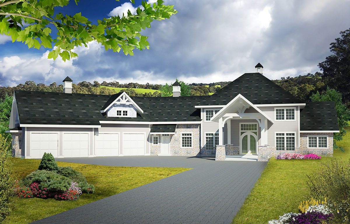 Angled garage and a porte cochere 35500gh for Porte cochere home plans
