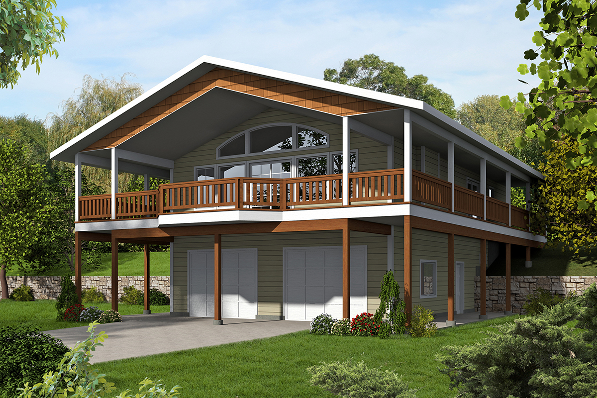 Northwest house plan with splendid wrap around porch for Porch garage