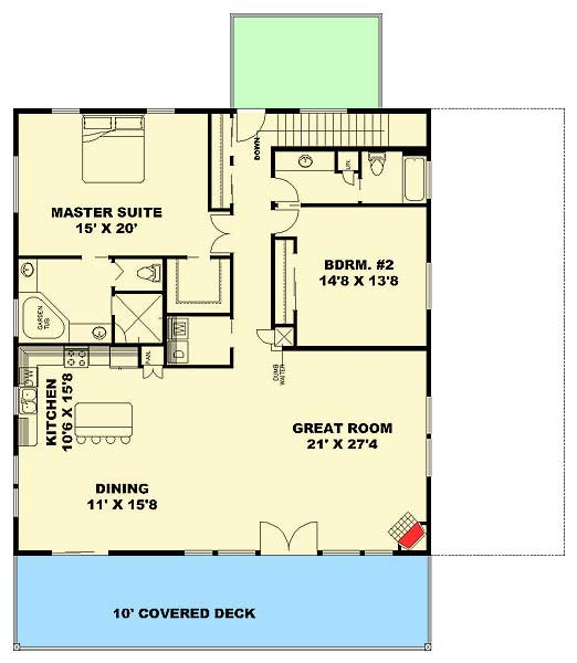 Three Bedroom Carriage House Or Mountain Home   35513GH Floor Plan   Main  Level Part 85