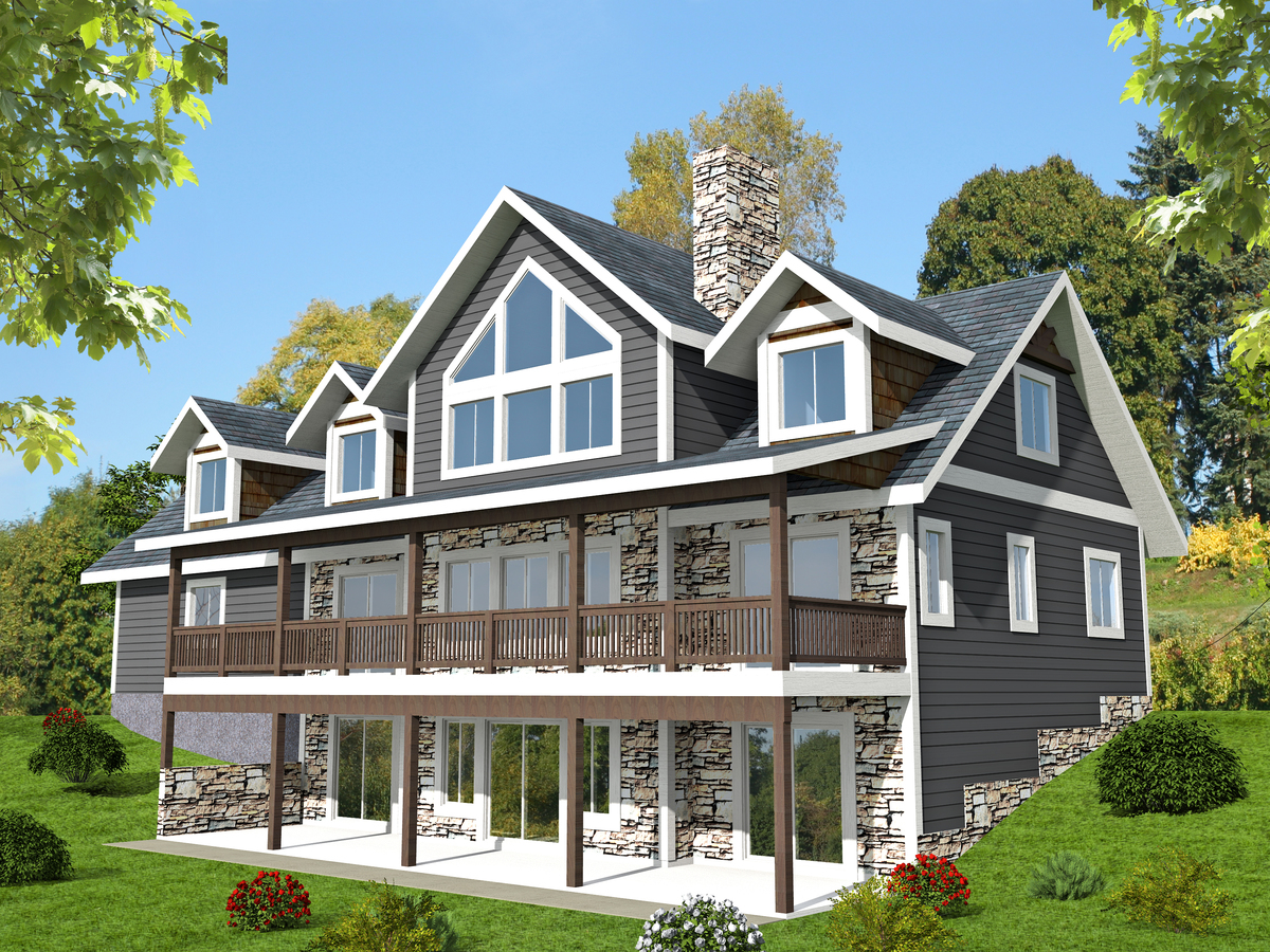 3 bed sloping lot house plan with grand rear deck 35514gh