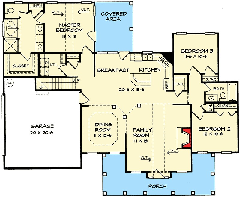 Vaulted ceilings 36000dk 1st floor master suite bonus for Floor plans vaulted ceilings
