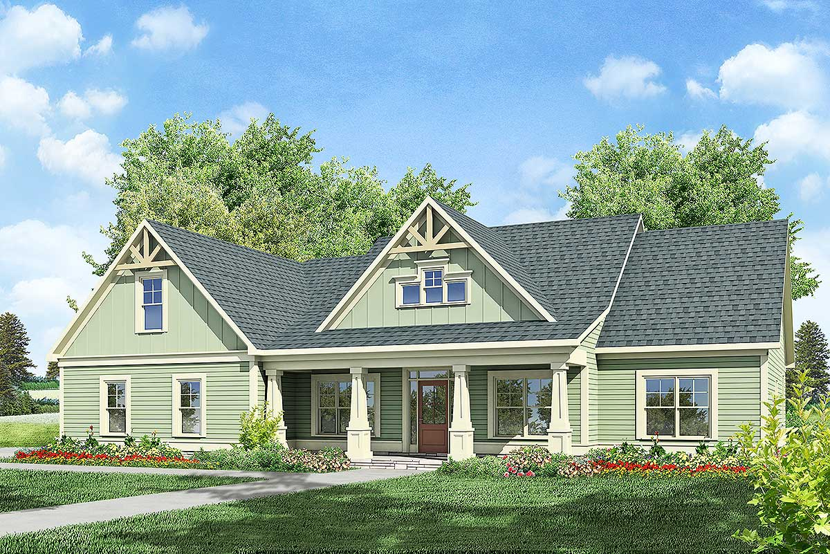 Craftsman home plan with bonus above 36018dk 1st floor for Craftsman house plans with bonus room