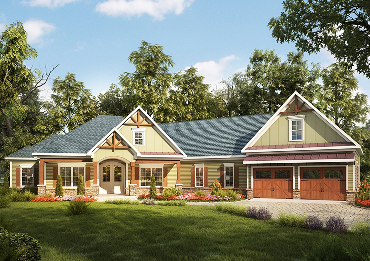 Architectural designs for Craftsman house plans 3 car garage