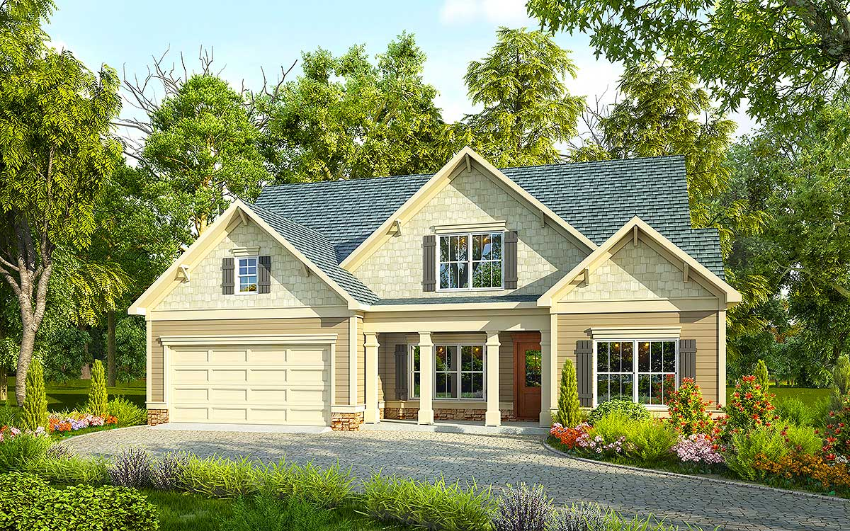 Traditional house plan with vaulted family room 36038dk for Four gables house plan with garage