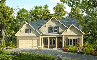 Traditional House Plan with Vaulted Family Room - 36041DK thumb - 01