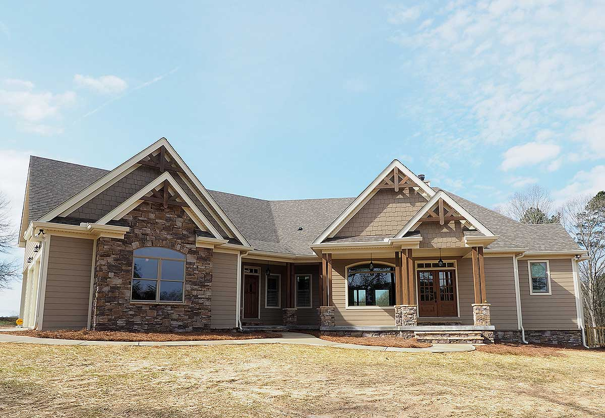 Angled craftsman home plan with outdoor spaces 36043dk architectural designs house plans - House plans outside city ...
