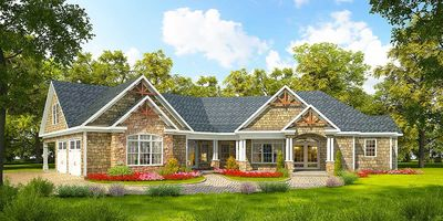 Angled Craftsman Home Plan with Outdoor Spaces - 36043DK thumb - 08