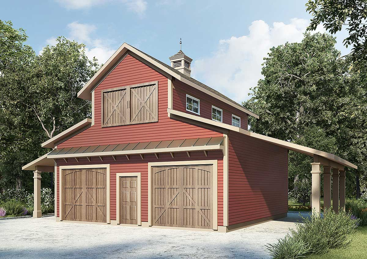 Barn like 2 car workshop plan 36056dk architectural for Barn like house plans