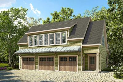 3 Bay Carriage House Plan With Shed Roof In Back   36057DK Thumb   01