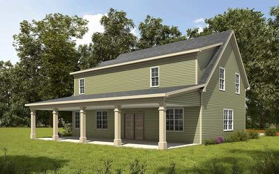 3 bay carriage house plan with shed roof in back 36057dk for 2 bay garage plans