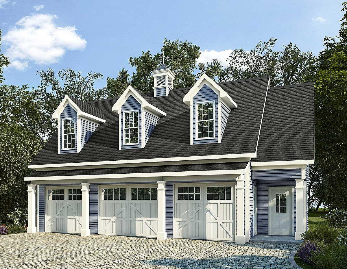 3 car carriage house plan with 3 dormers 36058dk 2nd for 3 car carriage house plans
