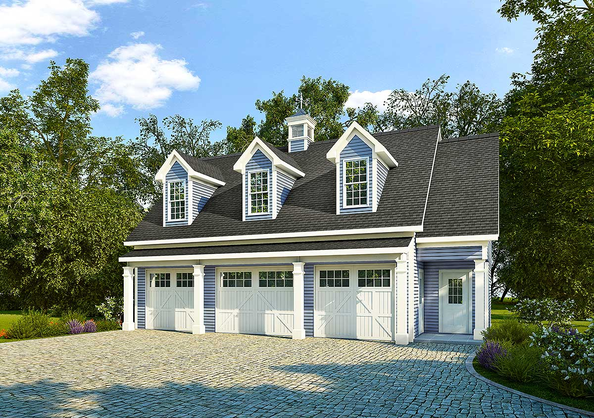 3 car carriage house plan with 3 dormers 36058dk for Modular carriage house garage