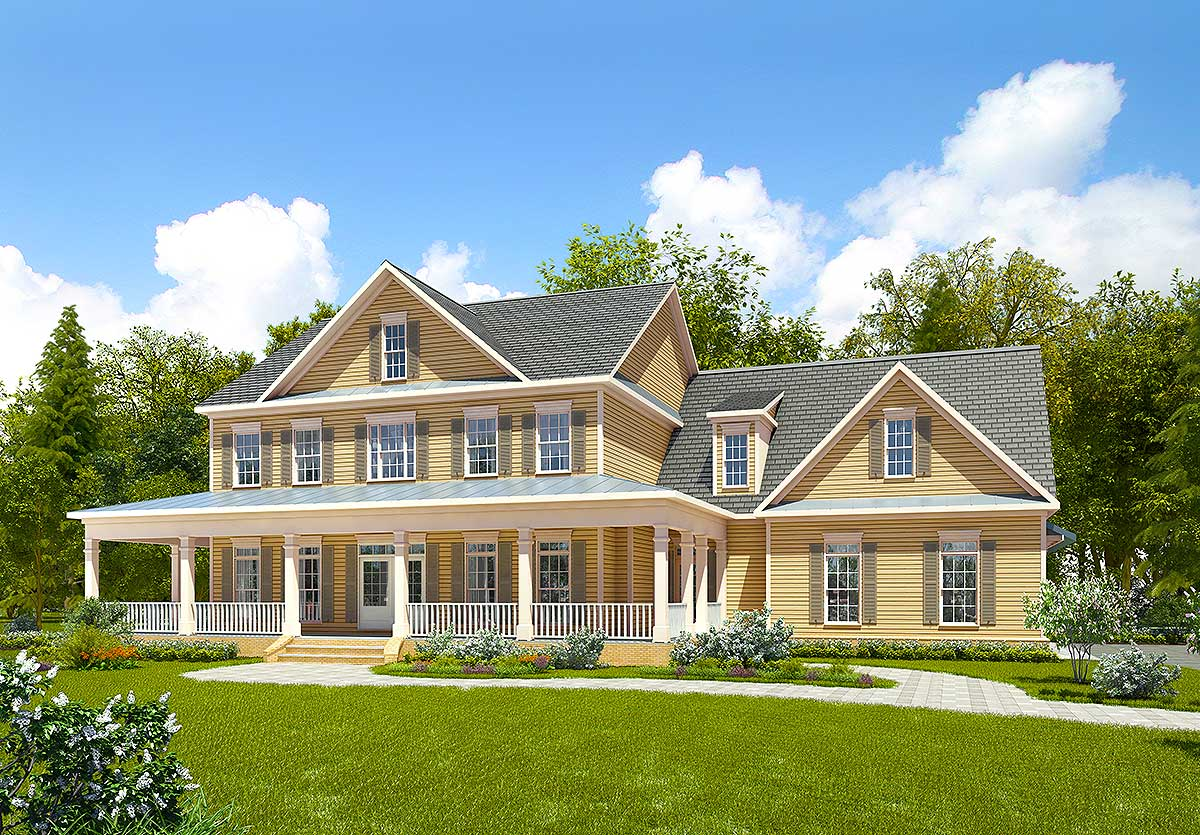 Spacious farmhouse with bonus room 36064dk for House plans with bonus rooms