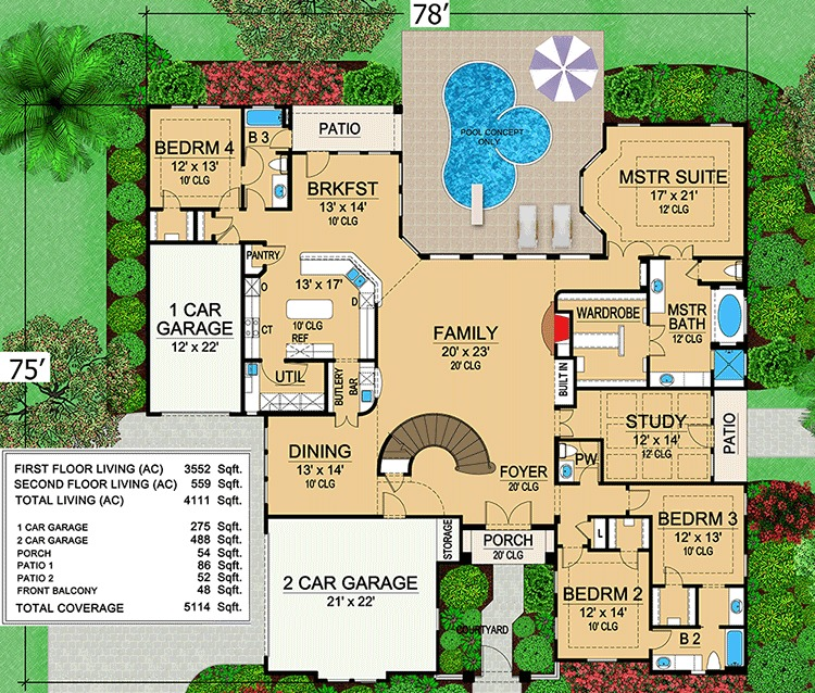 Mini Mansion 36105TX 1st Floor Master Suite CAD Available
