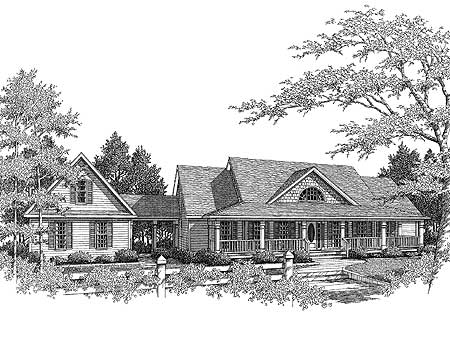 Country farmhouse with breezeway 3611dk 1st floor for Attached garage plans with breezeway