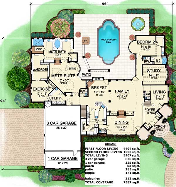 Stately luxury house plan 36132tx architectural for Stately house plans