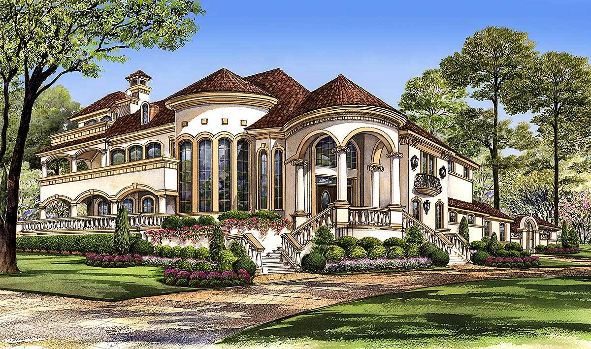 Mediterranean with central courtyard 36143tx for Mediterranean home plans with courtyards