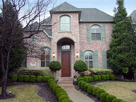 Narrow lot brick home plan 36206tx 1st floor master for Luxury brick house plans