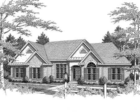 Elegant ranch home for a corner lot 3623dk for Corner lot home plans