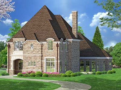 Narrow lot european home plan 36262tx architectural for European house plans for narrow lots