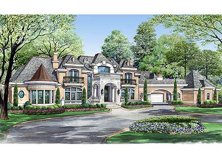 Architectural designs for European estate house plans