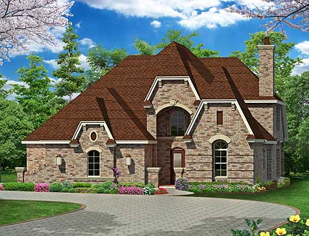 Courtyard entry with alternate exteriors 36344tx for Courtyard entry house plans