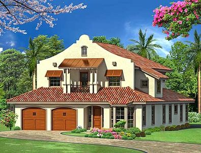 Mission style in two versions 36347tx 2nd floor master for Spanish mission house plans