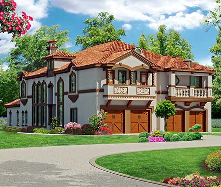 asymmetrical mediterranean duplex 36354tx. Black Bedroom Furniture Sets. Home Design Ideas