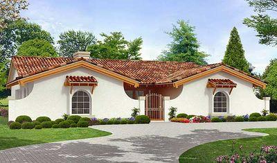 Three Bedroom Hacienda House Plan - 36367TX thumb - 02