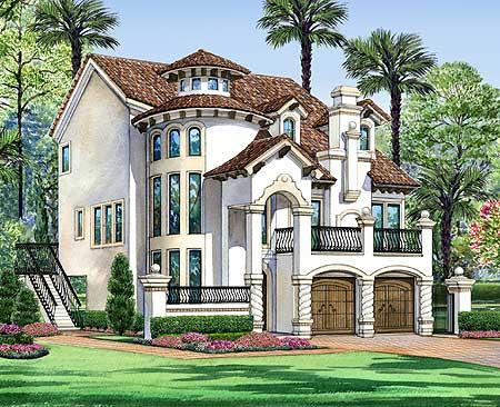 Vertical mediterranean escape 36369tx architectural for Narrow lot mediterranean house plans