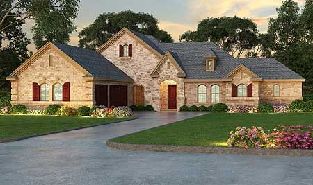 Elegant Split Bedroom Stone Exterior House Plan 36404tx 1st Floor Master Suite Butler Walk