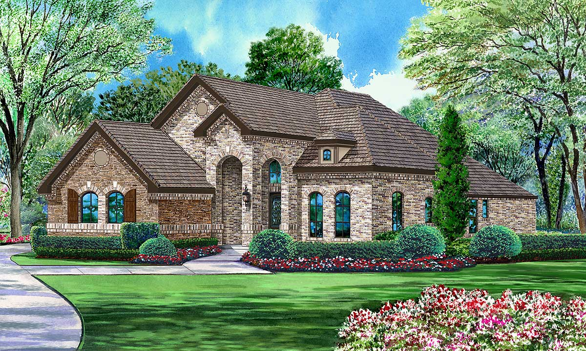 Brick And Stone 4 Bedroom Plan 36414tx Architectural Designs House Plans