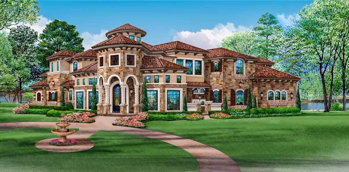 Mediterranean mansion house plan 36427tx architectural for Mediterranean mansion house plans