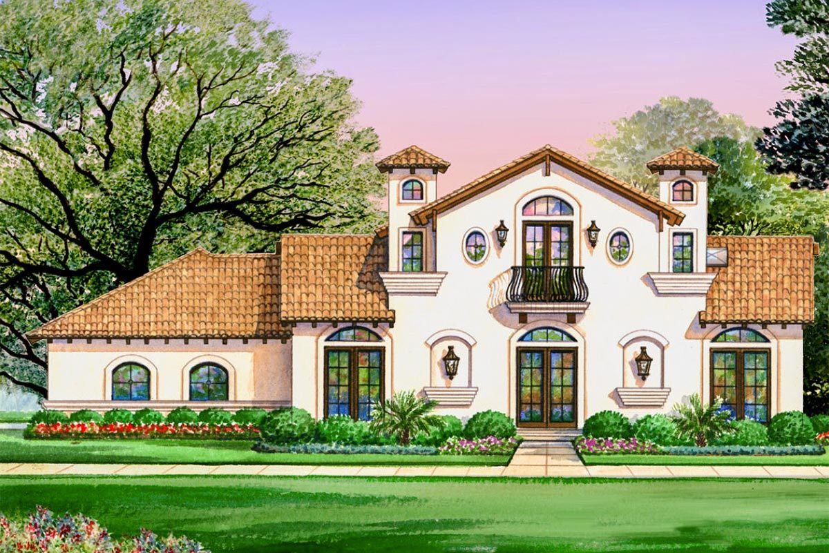 Luxury spanish villa with 4 bedrooms 36429tx for Villa house plans