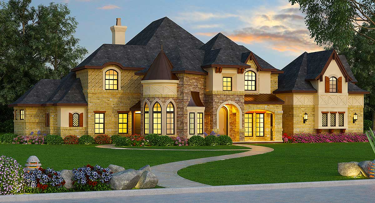Magnificent european house plan 36480tx architectural for European estate house plans