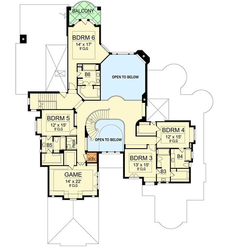 Mediterranean Mansion Floor Plans Design 77447630607: Six Bedroom Mediterranean Mansion