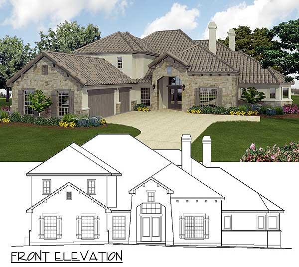 Texas Hill Country Home: Texas Hill Country Home Plan - 36806JG