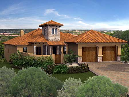 Private front courtyard 36814jg 1st floor master suite for Southwest house designs