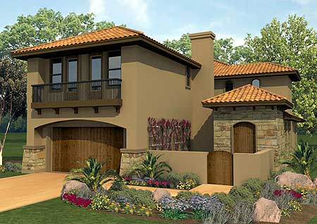 Spanish courtyard home plan 36817jg 2nd floor master for Narrow lot house plans with courtyard