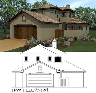 Narrow Lot Tuscan With Front Courtyard 36829jg