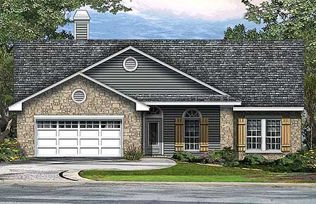 Ranch home plan with side patio 36883jg architectural for Patio home plans ranch