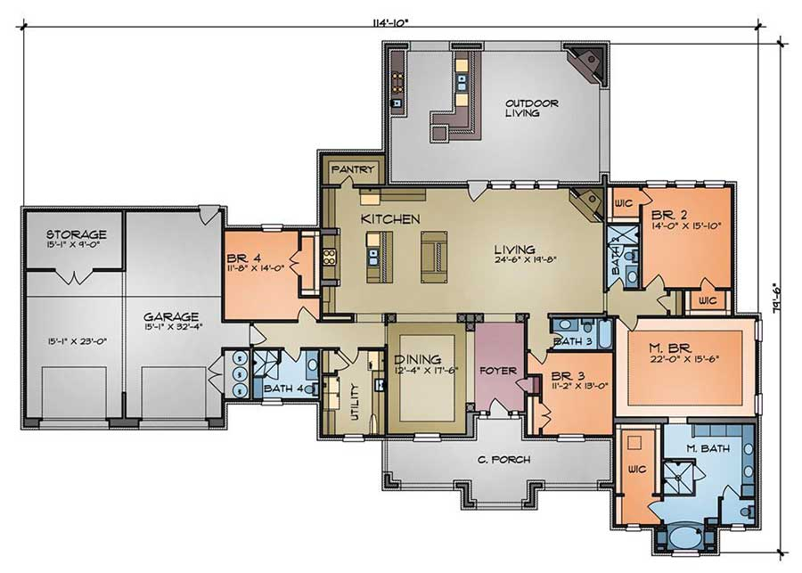 Hill country ranch home 36947jg architectural designs for Hill country floor plans