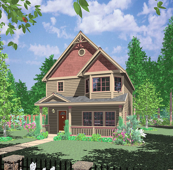 Narrow Lot Northwest House Plan 38002lb Architectural
