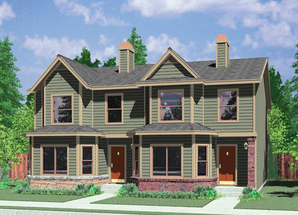 Duplex house plan with bay windows 38014lb for House plans with bay windows