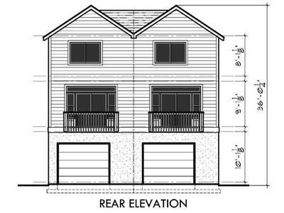 20 39 wide duplex with rear load garage 38018lb for 20 wide house plans