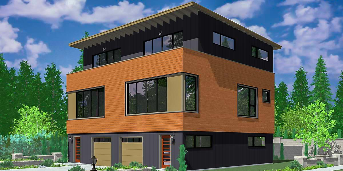 Sims Floor Elevation Cheat : Modern duplex house plan lb architectural designs