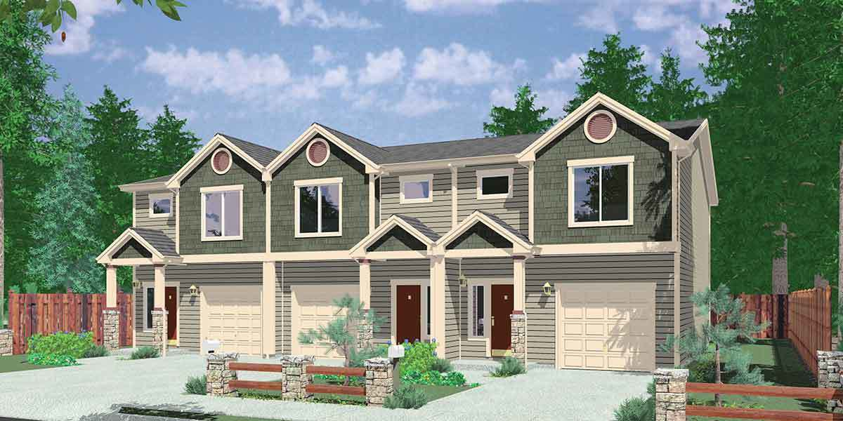 Triplex house plan with 3 bedroom units 38027lb for Triplex floor plans with garage