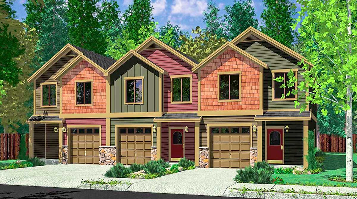 Craftsman triplex with townhouse potential 38028lb for Triplex plans for narrow lots